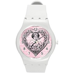 Heart Drawing Angel Vintage Round Plastic Sport Watch (M)