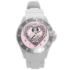Heart Drawing Angel Vintage Round Plastic Sport Watch (L)