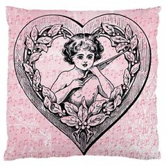 Heart Drawing Angel Vintage Large Cushion Case (Two Sides)