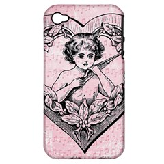 Heart Drawing Angel Vintage Apple iPhone 4/4S Hardshell Case (PC+Silicone)