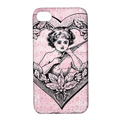 Heart Drawing Angel Vintage Apple iPhone 4/4S Hardshell Case with Stand