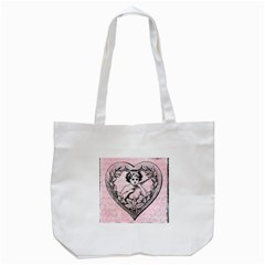 Heart Drawing Angel Vintage Tote Bag (White)