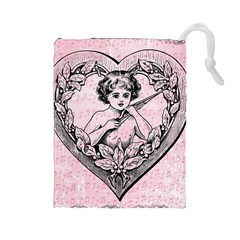 Heart Drawing Angel Vintage Drawstring Pouches (Large)
