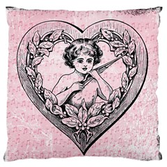 Heart Drawing Angel Vintage Large Flano Cushion Case (One Side)