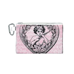 Heart Drawing Angel Vintage Canvas Cosmetic Bag (S)