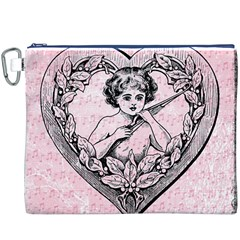Heart Drawing Angel Vintage Canvas Cosmetic Bag (XXXL)