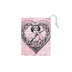 Heart Drawing Angel Vintage Drawstring Pouches (XS)