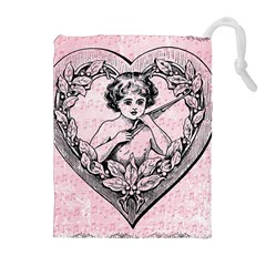 Heart Drawing Angel Vintage Drawstring Pouches (Extra Large)