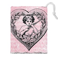 Heart Drawing Angel Vintage Drawstring Pouches (XXL)