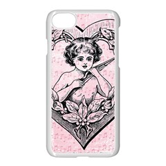 Heart Drawing Angel Vintage Apple iPhone 7 Seamless Case (White)