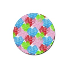 Holidays Occasions Valentine Rubber Round Coaster (4 pack)