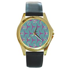 Pattern Background Structure Pink Round Gold Metal Watch