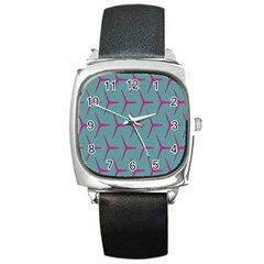 Pattern Background Structure Pink Square Metal Watch