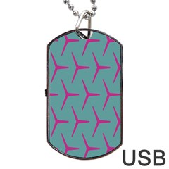 Pattern Background Structure Pink Dog Tag USB Flash (Two Sides)