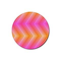 Pattern Background Pink Orange Rubber Coaster (Round)