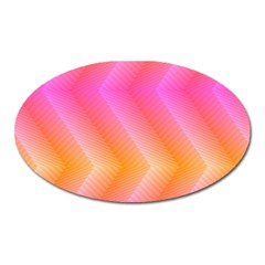 Pattern Background Pink Orange Oval Magnet