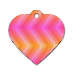 Pattern Background Pink Orange Dog Tag Heart (Two Sides)