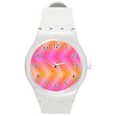 Pattern Background Pink Orange Round Plastic Sport Watch (M)