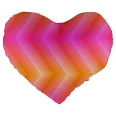 Pattern Background Pink Orange Large 19  Premium Flano Heart Shape Cushions
