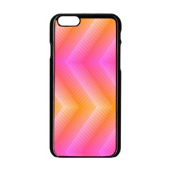 Pattern Background Pink Orange Apple iPhone 6/6S Black Enamel Case