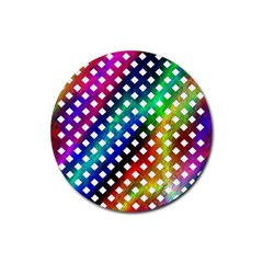 Pattern Template Shiny Rubber Round Coaster (4 pack)