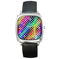 Pattern Template Shiny Square Metal Watch