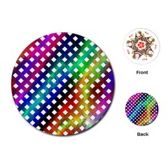 Pattern Template Shiny Playing Cards (Round)