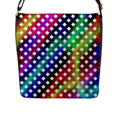 Pattern Template Shiny Flap Messenger Bag (L)