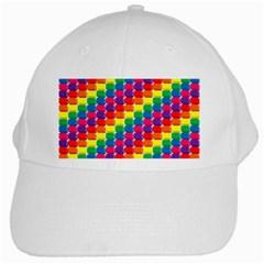 Rainbow 3d Cubes Red Orange White Cap