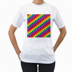 Rainbow 3d Cubes Red Orange Women s T-Shirt (White) (Two Sided)