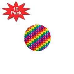 Rainbow 3d Cubes Red Orange 1  Mini Magnet (10 pack)