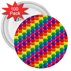 Rainbow 3d Cubes Red Orange 3  Buttons (100 pack)