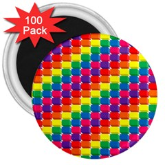 Rainbow 3d Cubes Red Orange 3  Magnets (100 pack)
