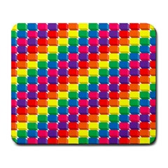 Rainbow 3d Cubes Red Orange Large Mousepads