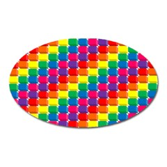 Rainbow 3d Cubes Red Orange Oval Magnet