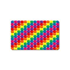 Rainbow 3d Cubes Red Orange Magnet (Name Card)
