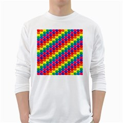 Rainbow 3d Cubes Red Orange White Long Sleeve T-Shirts