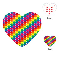 Rainbow 3d Cubes Red Orange Playing Cards (Heart)