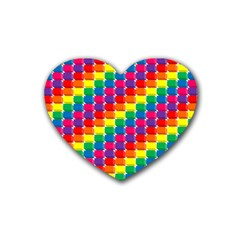 Rainbow 3d Cubes Red Orange Rubber Coaster (Heart)