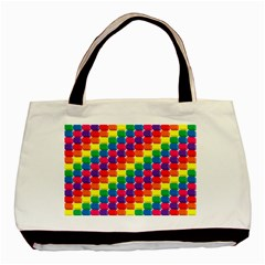 Rainbow 3d Cubes Red Orange Basic Tote Bag (Two Sides)
