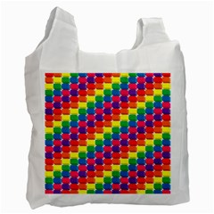 Rainbow 3d Cubes Red Orange Recycle Bag (One Side)