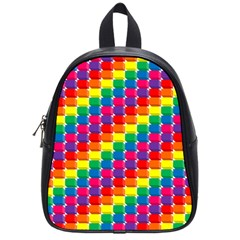 Rainbow 3d Cubes Red Orange School Bags (Small)