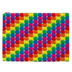 Rainbow 3d Cubes Red Orange Cosmetic Bag (XXL)