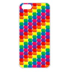 Rainbow 3d Cubes Red Orange Apple iPhone 5 Seamless Case (White)