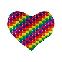 Rainbow 3d Cubes Red Orange Standard 16  Premium Heart Shape Cushions