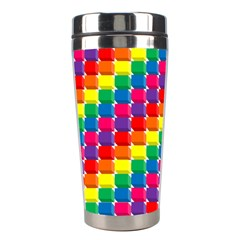 Rainbow 3d Cubes Red Orange Stainless Steel Travel Tumblers