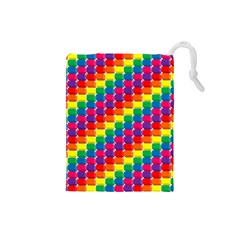 Rainbow 3d Cubes Red Orange Drawstring Pouches (Small)