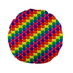 Rainbow 3d Cubes Red Orange Standard 15  Premium Flano Round Cushions