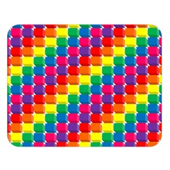 Rainbow 3d Cubes Red Orange Double Sided Flano Blanket (Large)