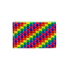 Rainbow 3d Cubes Red Orange Cosmetic Bag (XS)